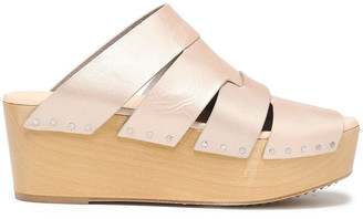 Rick Owens Cutout Leather Wedge Slides