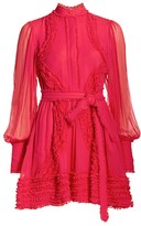 Alexis Olinka Ruffle-Trim Puff-Sleeve Silk Shirtdress
