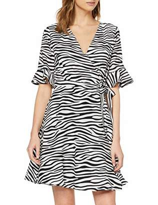 Yumi Women's Zebra Stripe Wrap Dress Cocktail,8 UK