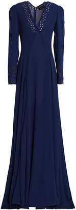Zac Posen Pleated Broderie Anglaise Crepe Gown