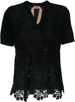 No.21 embroidered v-neck blouse - women - Polyester/Virgin Wool - 38