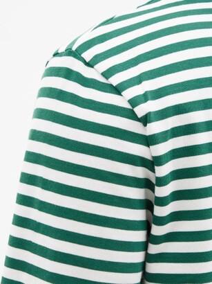 Ami De Cur-logo Striped Organic-cotton T-shirt - Green Multi