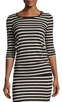 ATM Anthony Thomas Melillo 3/4-Sleeve Striped Jersey Top, Pink/Black