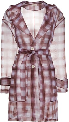 Altea Sheer Checked Print Coat