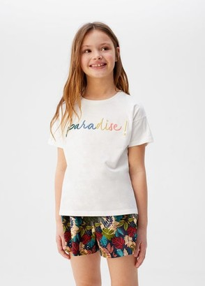 MANGO Message organic cotton t-shirt