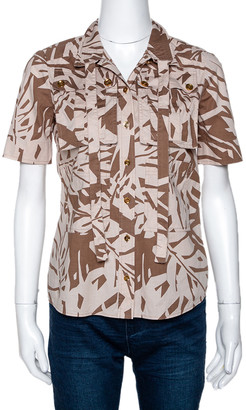 Gucci Brown Printed Cotton Short Sleeve Safari Shirt S
