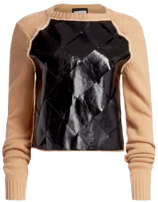 Bottega Veneta Brushed Wool & Basketwoven Leather Sweater
