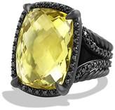 David Yurman Ch'telaine Ring with Lemon Citrine and Black Diamonds