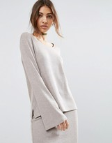 Asos LOUNGE Ribbed Long Sleeve Flared Tunic