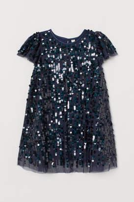 H&M Empire-line Sequined Dress - Blue