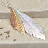 Tigerlily Jewellery Three Tone Silver Feather Necklace