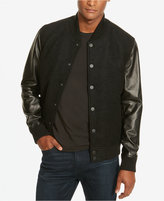 Kenneth Cole New York Men's Leather-Sleeve Bomber Jacket