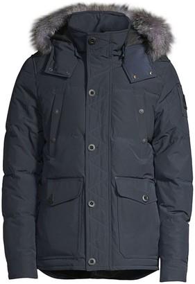 Moose Knuckles Round Island Blue Frost Fox Fur-Trim Down Jacket