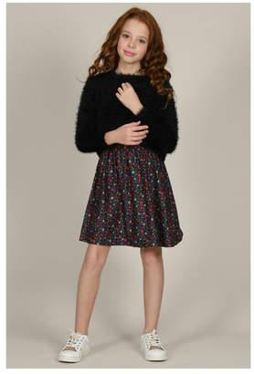 Mini Molly Floral Dress W/fluffy Overlay