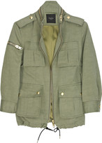 Multi-pocketed linen-blend jacket
