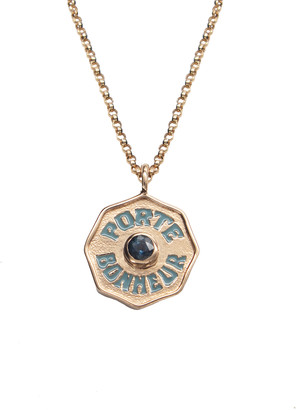 Marlo Laz Mini Sapphire and Teal Enamel Porte Bonheur Coin 18 Inch Necklace - Rose Gold