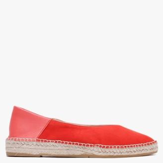Carmen Saiz Red Suede & Leather Pointed Toe Espadrilles