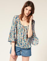 Silk Linear Poppy Blouse
