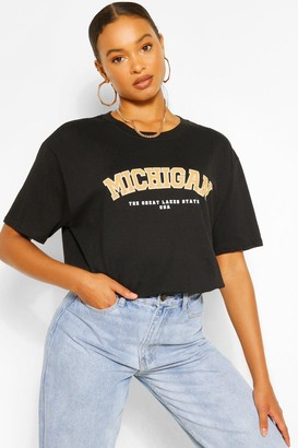 boohoo Oversized Michigan Slogan Boyfriend T-Shirt