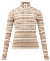 J.W.Anderson Zipped Roll-neck Striped Wool Sweater - Womens - Beige Multi