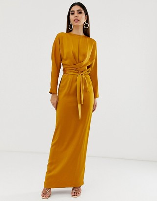 Asos Design DESIGN maxi dress with batwing sleeve and wrap waist in satin-Gold