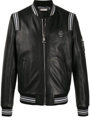 Philipp Plein Teddy Bear Leather Bomber Jacket