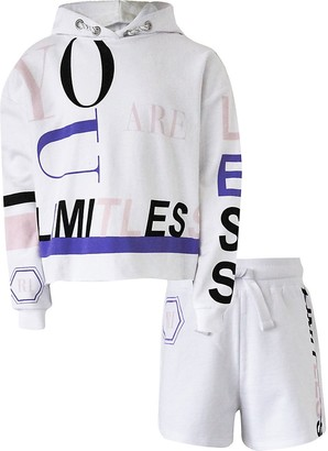 River Island Girls white 'Limitless' hoodie shorts outfit