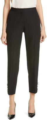 Burberry Hanover Satin Stripe Wool Ankle Trousers