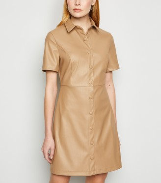 New Look Coated Leather-Look Shirt Dress