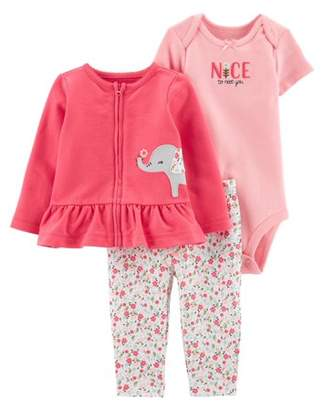 Carter's Child Of Mine By Child of Mine by Baby Girl Long Sleeve Peplum Cardigan, Short Sleeve Bodysuit, and Pant Outfit Set, 3 pc set