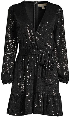 MICHAEL Michael Kors Mirror Dot Sequin Wrap Dress