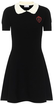 RED Valentino Appliqued stretch-knit minidress