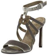 Brunello Cucinelli 100mm Monili-Strap Velvet Sandal
