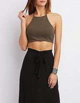 Charlotte Russe Ribbed Halter Crop Top