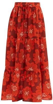 Dodo Bar Or Batia Floral-print Cotton-poplin Maxi-skirt - Womens - Burgundy Print
