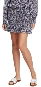 1 STATE Floral-Print Smocked Skirt