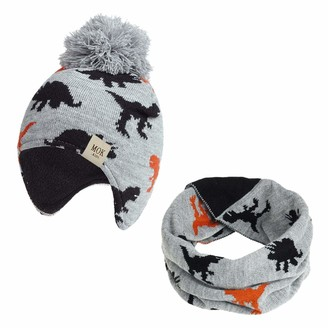 TMEOG Baby Infant Toddler Warm Stretch Fleece Lined Knitted Winter Hat with Warm Ear Flap +Cute Cozy Scarf or Gloves (A-Grey 3-12months)