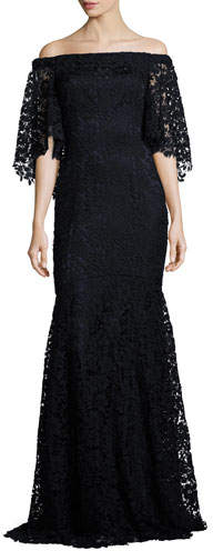Theia Off-the-Shoulder Floral Lace Mermaid Gown, Midnight