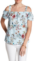 Bobeau Floral Printed Cold Shoulder Blouse