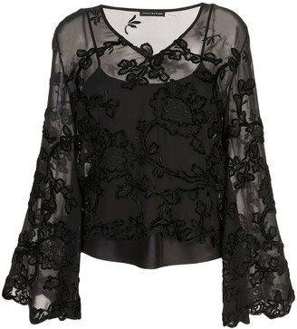 Josie Natori Embroidered Sheer Blouse
