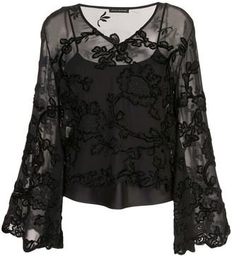 Josie Natori embroidered sheer blouse