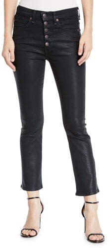 """Veronica Beard Carolyn 10"""" Rise Coated Kick Flare Jeans with Button Fly"""