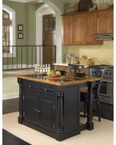 Monarch Kitchen Island and 2 Stools - Black with Black Granite Inset