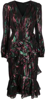 Saloni Metallic Ruffled Dress