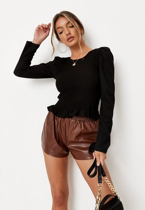 Missguided Black Shirred Body Long Sleeve Top