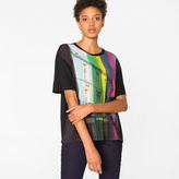Paul Smith Women's Black 'City Stripe' Print T-Shirt