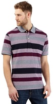 Maine New England Big And Tall Plum Striped Polo Shirt