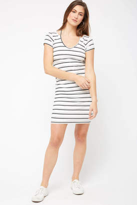 Red Haute Striped Split Neck Bodycon Dress Whtm M