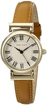 Anne Klein Women's AK/2246CRHY Gold-Tone and Honey Leather Strap Watch