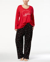 Charter Club Plus Size Lurex-Threaded Cotton Pajama Set, Created for Macy's